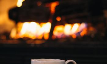 Fireplace and coffee