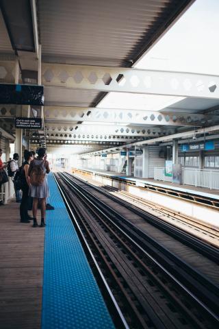 Subway station tracks