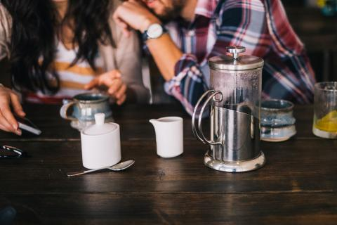 Dating Catholic couple having coffee. Dating Tips.